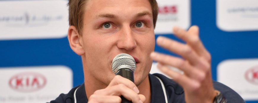 180504 DOHA May 4 2018 Javelin Thrower Thomas Rohler of Germany speaks during the press co