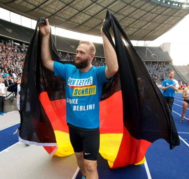 Leichtathletik Berlin 02 09 2018 ISTAF Stadionfest Diskus Herren M°nner Robert Harting GER Jubel n