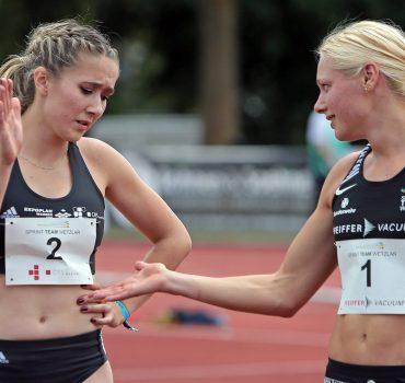 18.07.2020, xovx, Leichtathletik Meeting Fast Arms, Fast Legs, emspor, Finale 100 Meter, Frauen v.l. Rebekka Haase (Spri