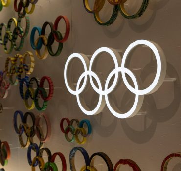 July 21, 2020, Tokyo, Japan: Olympic Rings displayed on a wall inside Japan Olympic Museum..Due to the Covid-19 outbreak