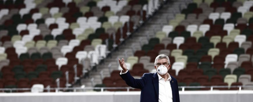 November 17, 2020, Tokyo, Japan: International Olympic Committee (IOC) president Thomas Bach wearing a face mask gestur