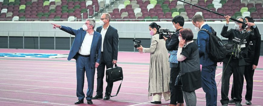 2020/11/17 Tokyo, IOC President Thomas Bach visits the National Stadium (Olympic Stadium) during his 3 Day stay in Tokyo