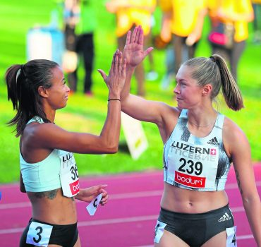 Spitzenleichtathletik Luzern Lueckenkemper Gina Pinto Tatjana *** Top athletics Lucerne Lueckenkemp