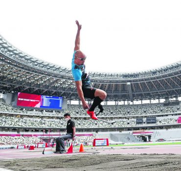 Athletics: Test event for Paralympics Atsushi Yamamoto of Japan competes in the men s T63 long jump during a Paralympic